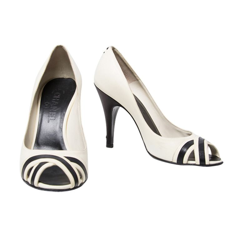 810a01a8cd2 Chanel Black And White Leather Peep Toe Pump