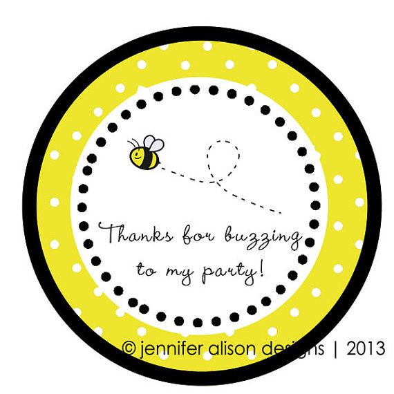 Bumble Bee Yellow Party Round Sticker Label Cupcake Topper Thank You Tags For Birthday