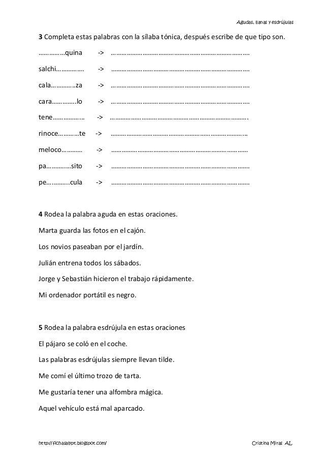 1 Palabras Agudas Llanas Y Esdrujulas Phonics Education Word Search Puzzle