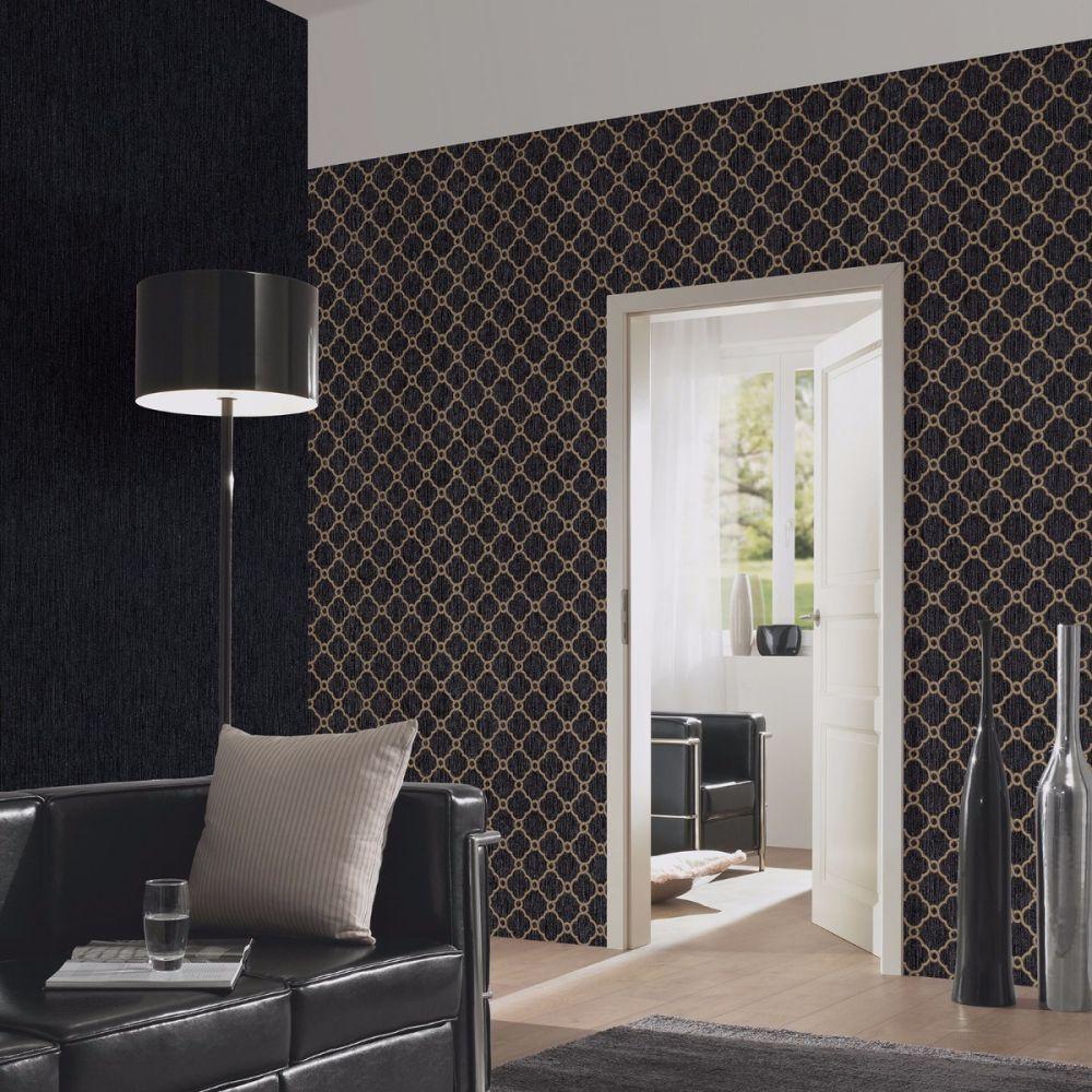 Opal Geometric Glitter Wallpaper Black and Gold P+S 02493