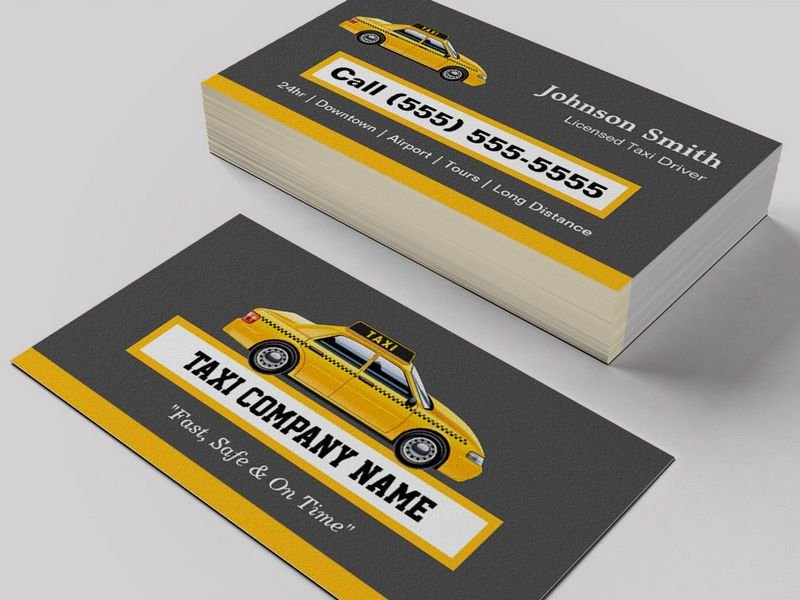 Licensed Cap Driver Chauffeur - Yellow Taxi Business Card Templates ...