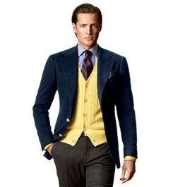 Blue blazer and yellow cardigan