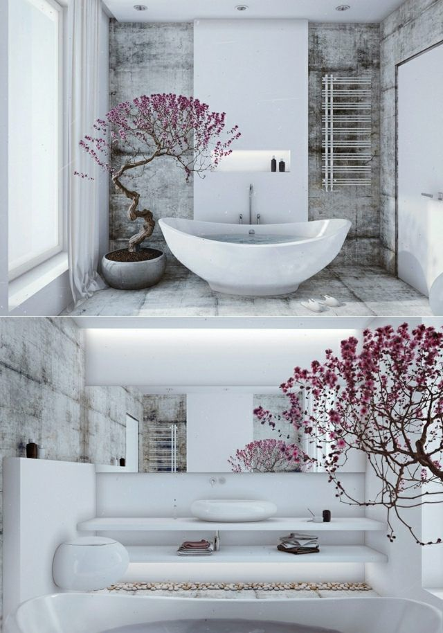 Badezimmer zen stil wei e freistehende badewanne bonsai for Zen bathroom accessories