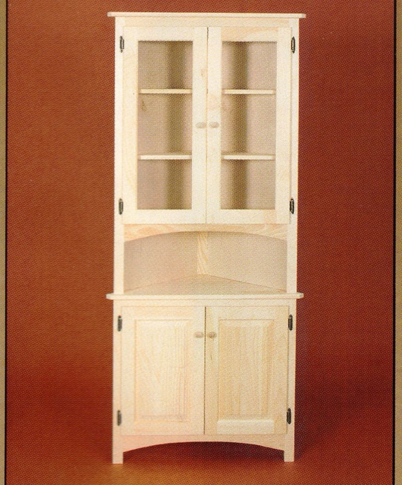 Amazing AMISH Unfinished Solid Pine ~ CORNER HUTCH China Cabinet Country Style 4  Door #AmishMade #RusticPrimitive