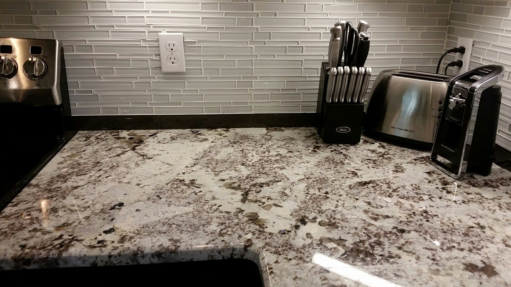 Alaska White Granite Glass Tile Backsplash Kitchen In