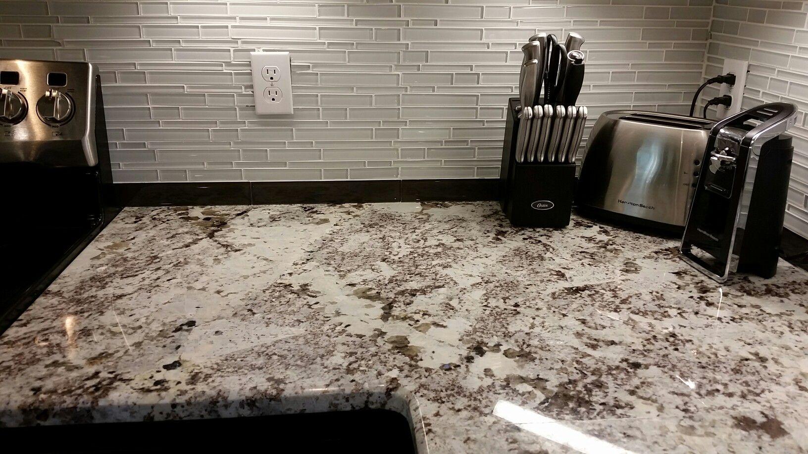 Alaska White Granite Glass Tile Backsplash White Granite White