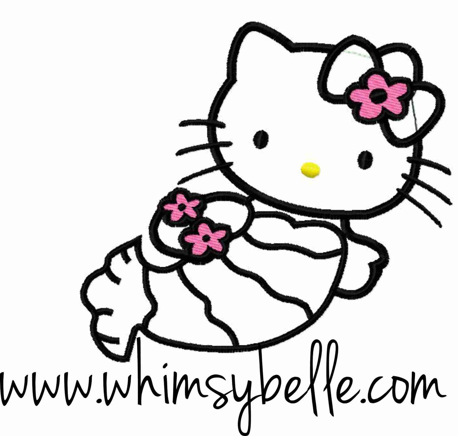 Hello Kitty Mermaid with bow Embroidery Applique Design