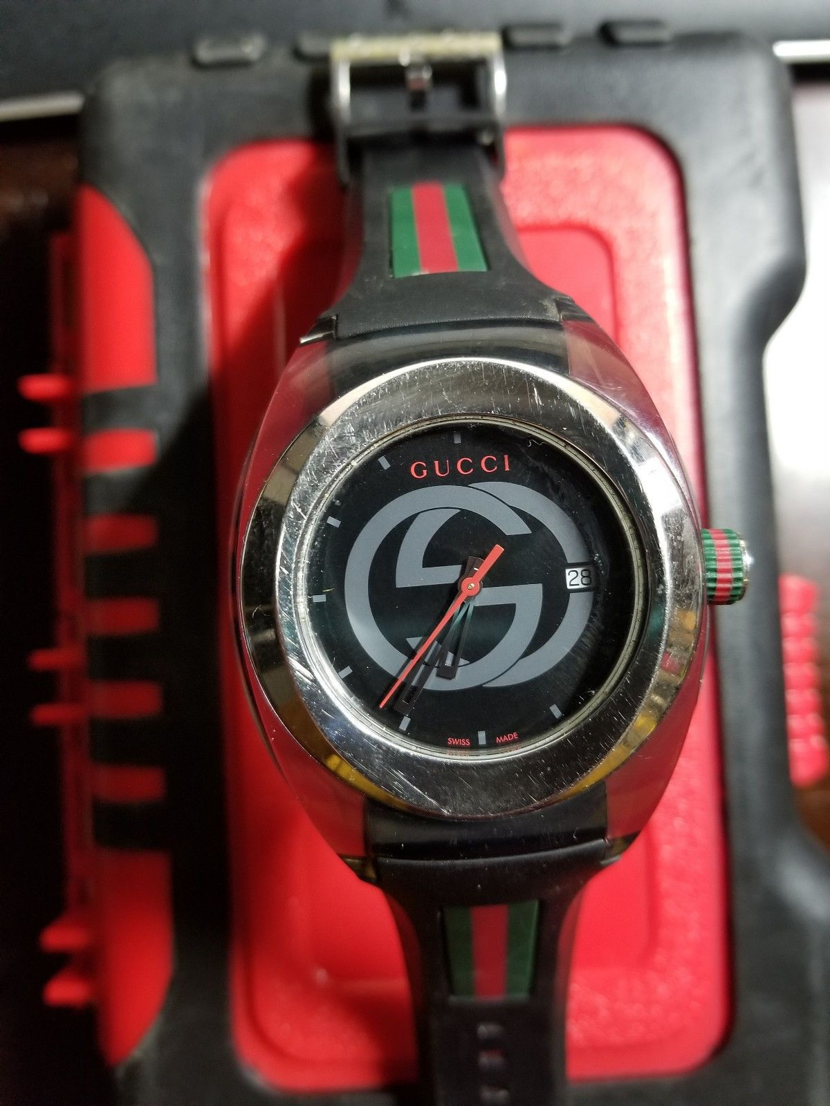 ab5baa56b81 Gucci Sync Unisex Swiss Black Striped Rubber Strap Watch 36mm YA137301