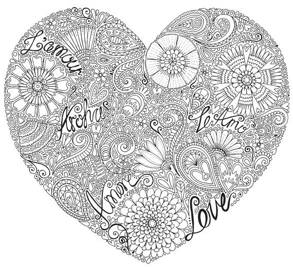 Love Heart Colour With Me Hello Angel Coloring Design Detailed Meditation Coloring For Grown Ups Heart Canvas Art Love Coloring Pages Coloring Canvas