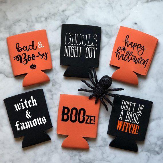 Halloween Drink Hugger Etsy In 2020 Koozie Craft Cricut Projects Vinyl Halloween Koozie