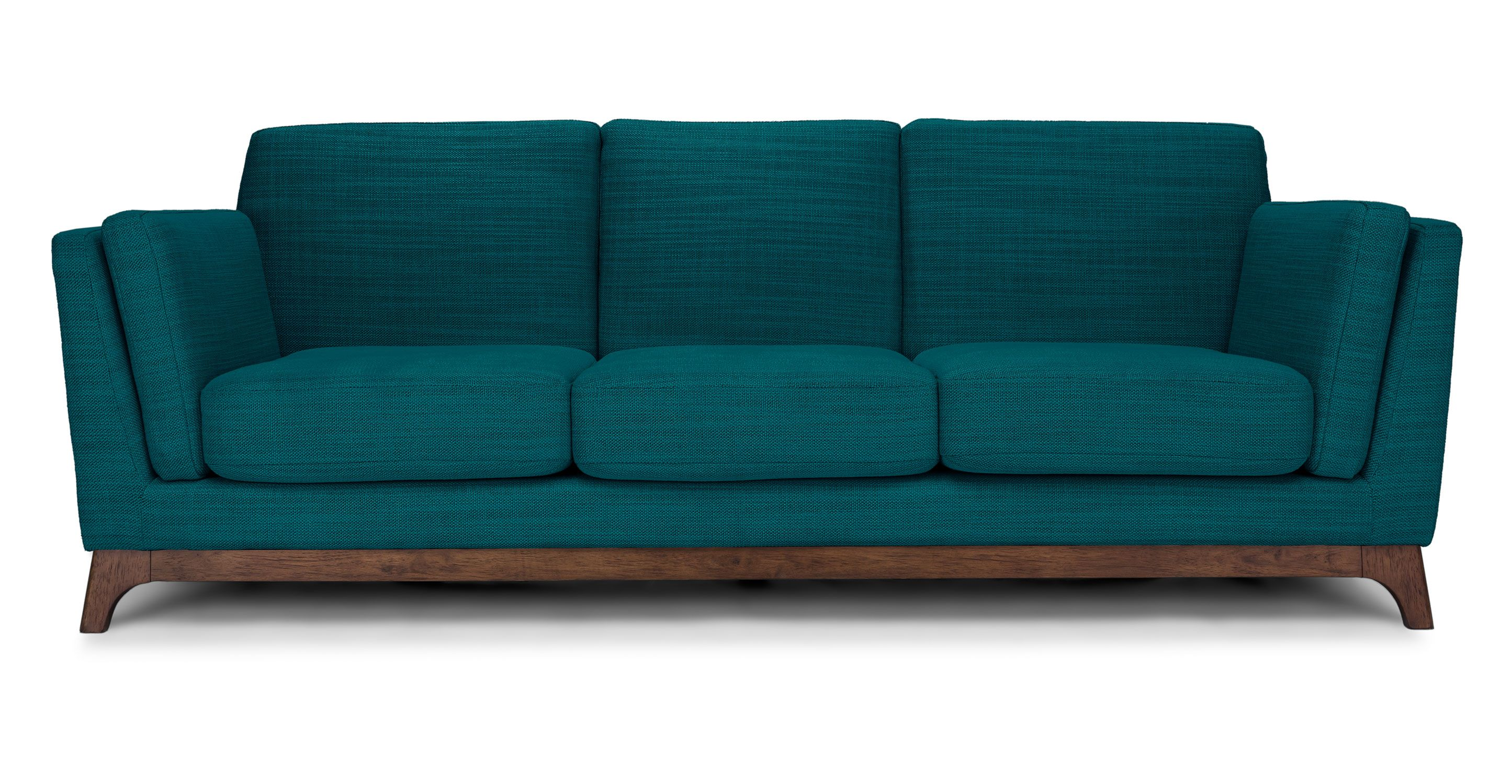 Green Blue Sofa 3 Seater Solid Wood Legs