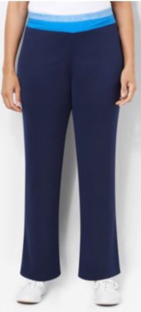 a422d7703f86dd CATHERINES BRIGHT STRIPE YOGA PANTS - NAVY - PLUS SIZE 2XWP (22/24WP) # Catherines #CasualPants