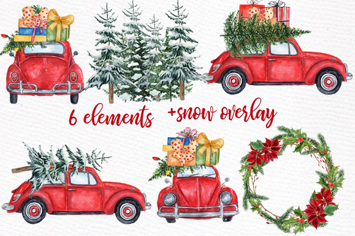 Watercolor Christmas Cars Clipart Christmas Wreath Snow Png