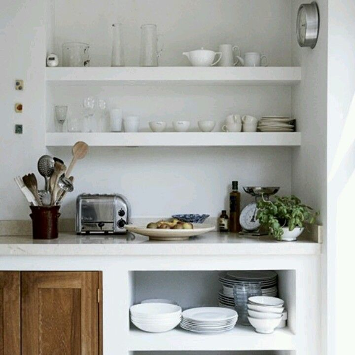 White Kitchen Shelf: Plaster Shelving