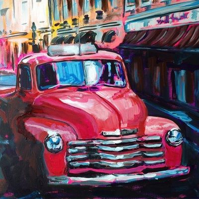 Check out Boerne Artist Leslie Matiacio! Awesome old car paintings. She will be exhibiting at the Texas Hill Country Invitational Art Show on October 16-18 at the Cana Ball Room in Boerne!