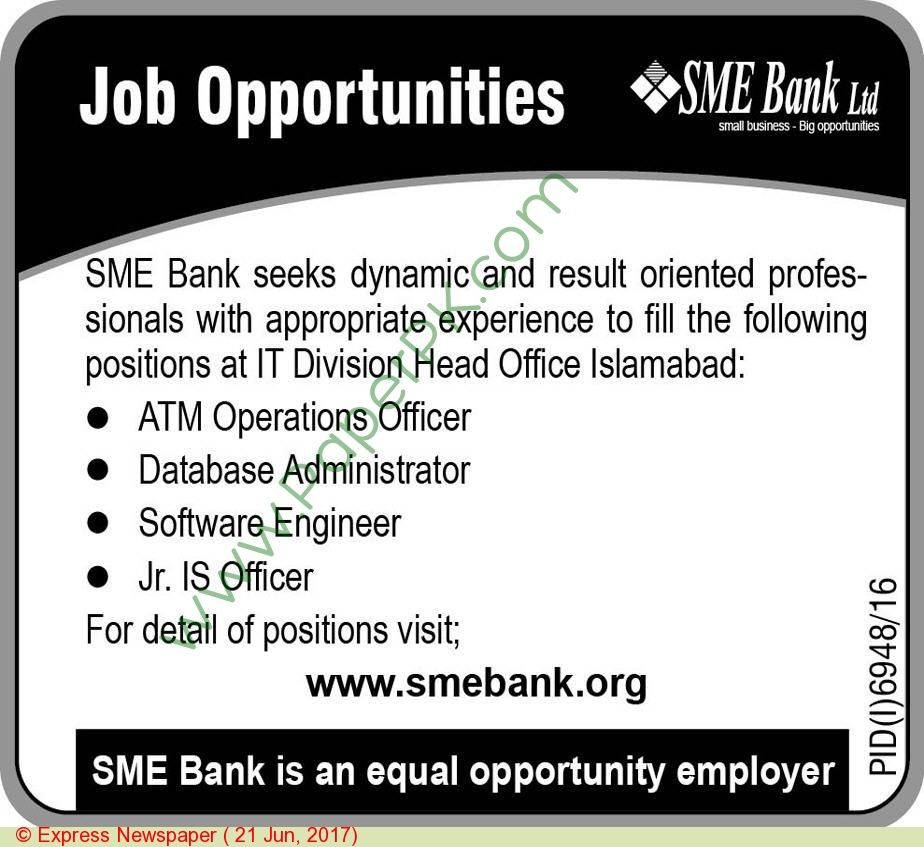 Sme Bank Islamabad Jobs Jobs In Pakistan Pinterest