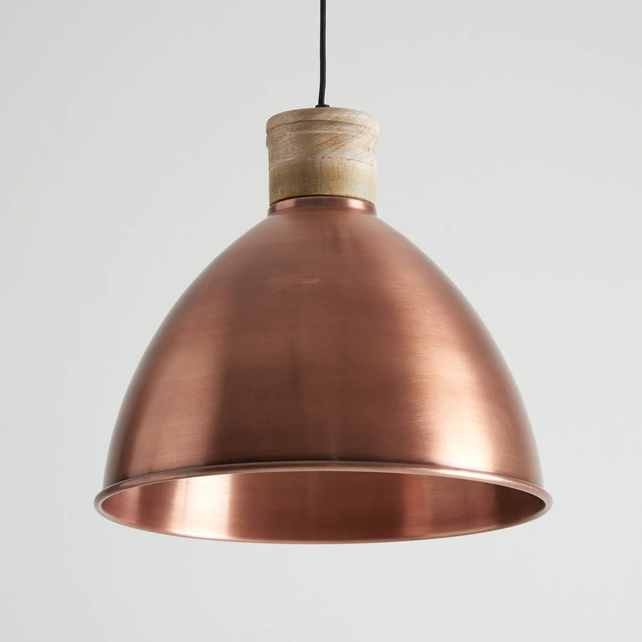 antique pendant lighting. Antique Copper And Natural Wood Pendant Light Lighting