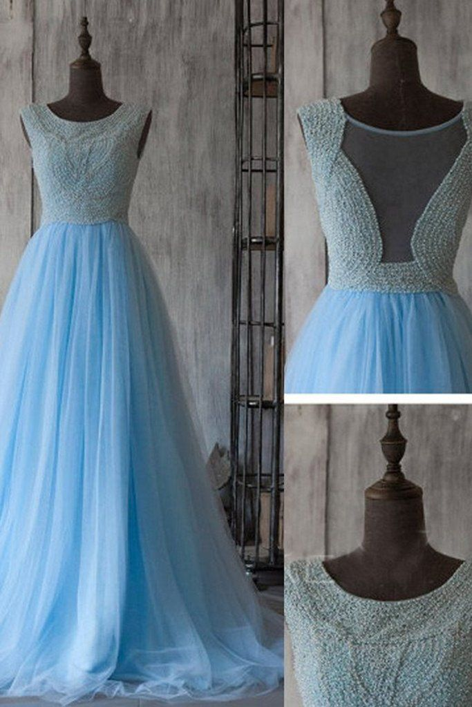 Ice blue tulle round neck see-through lace A-line long floor-length evening dress,princess dresses #promdress