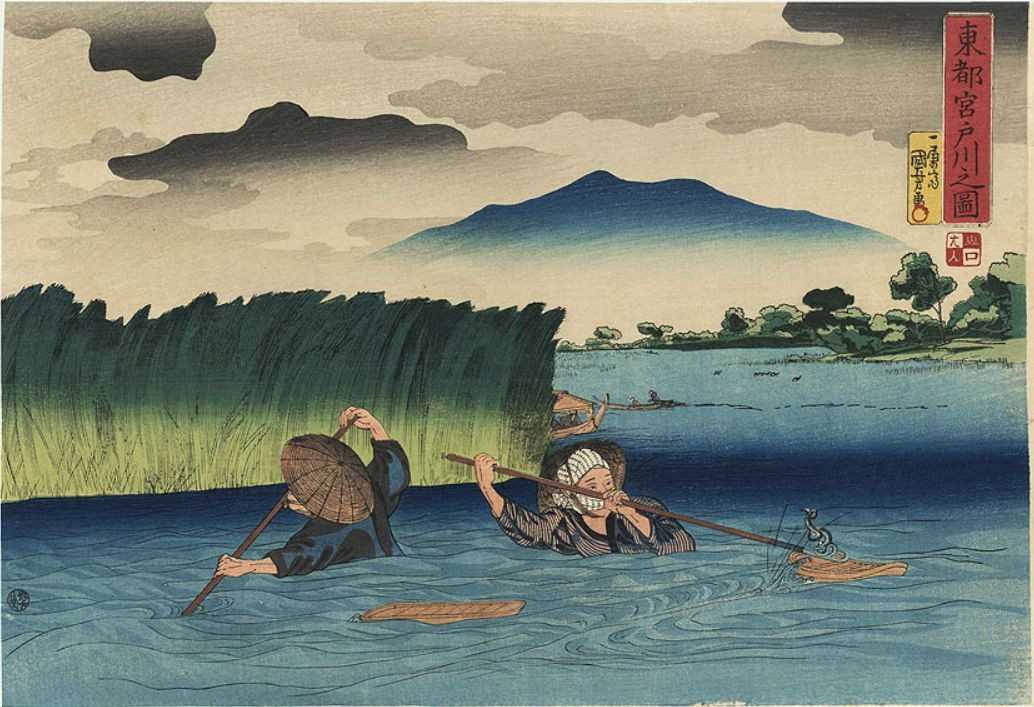 Fishing for Eels at Miyatogawa by Kuniyoshi. Two men are using nets to catch freshwater eels in chest-high water near Miyatogawa, a name given to a section of the Sumida River north of the Azuma Bridge in old Edo.