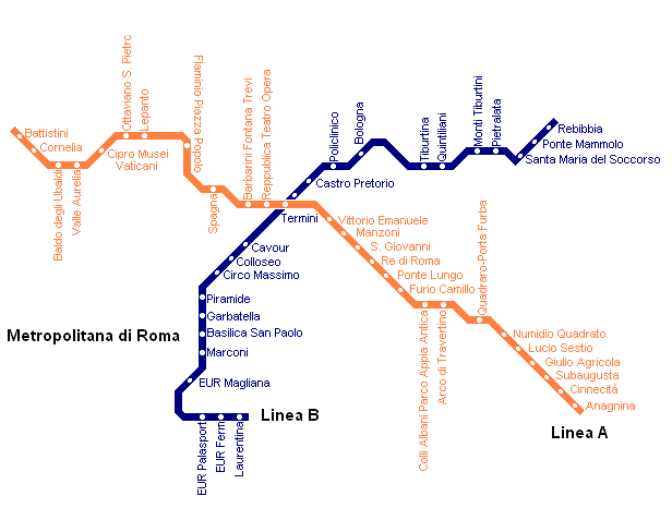 Rome Metro Map With Attractions.Rome Metro Map With Attractions Map Of Rome Metros Rome