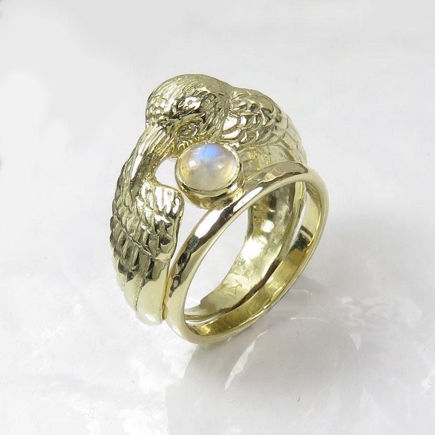 14k Gold Raven Ring With Moonstone Pagan Wedding Ring