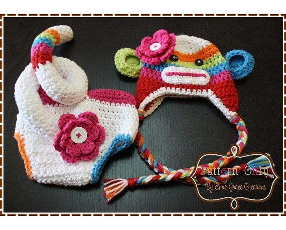 Sock Monkey Crochet Hat And Diaper Cover By Emiegracecreations