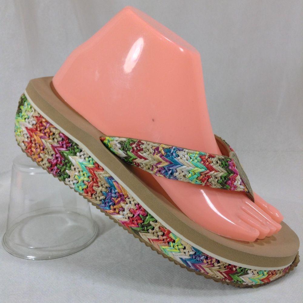 f5f7d2362 Volatile 8 Womens Platform Sandals Rainbow Macrame Weave Flip Flops Thong  Wedge  VOLATILE  FlipFlops