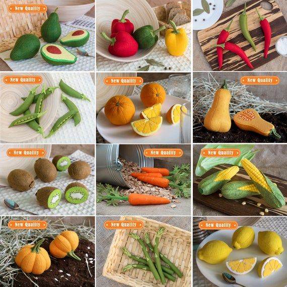 Set of all felt vegetables and fruits of my shopThis listing includes:FRUITS1. Apple green (1 whole + 1 half) - 21.5 USD2. Apple red (1 whole + 1 half) - 21.5 USD3. Apple slice (1 green + 1 red) - 19 USD4. Apricot (1 whole + 1 half) - 21.5 USD5. Avocado (1 whole + 1 half) - 22 USD6. Banana 1 pcs. - 12 USD7. Cantaloupe 1 slice - 8 USD8. Dragon fruit (1 whole + 1 half) - 20 USD9. Fig (1 whole + 1 half) - 24 USD10. Grapefruit (1 whole + 1 half) - 20.5 USD11. Kiwi (1 whole + 1 half) - 24 USD12. Lemo