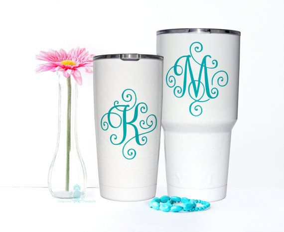 Yeti decal yeti decal for women monogram decal yeti for Letter decals for cups