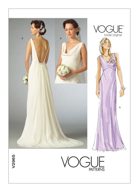 2965, Vogue, Wedding Dress Pattern, Cowl-Neck Dress, Plunging Back ...