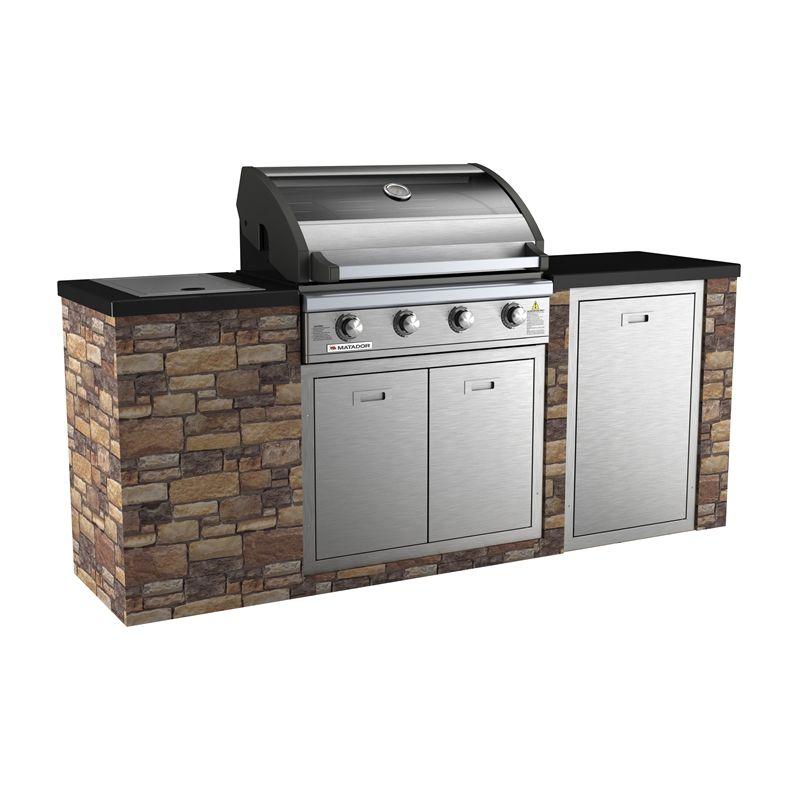 Matador 4 Burner Stone Finish Outdoor Kitchen From Bunnings Kitchen Bar Outdoor Kitchen Outdoor Kitchen Bars