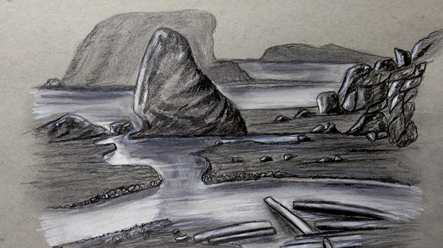 رسم منظر طبيعي بالرصاص والفحم الابيض Art Painting Drawings
