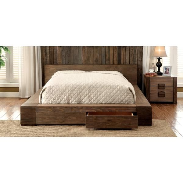Transitional Style Moline Ii Low Profile California King Storage Platform Bed In Rustic Natural Tone Finish With Headboard