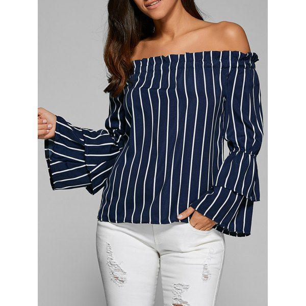 Wholesale Tiered Ruffle Sleeve Off Shoulder Top Only $5.84 Drop Shipping | TrendsGal.com
