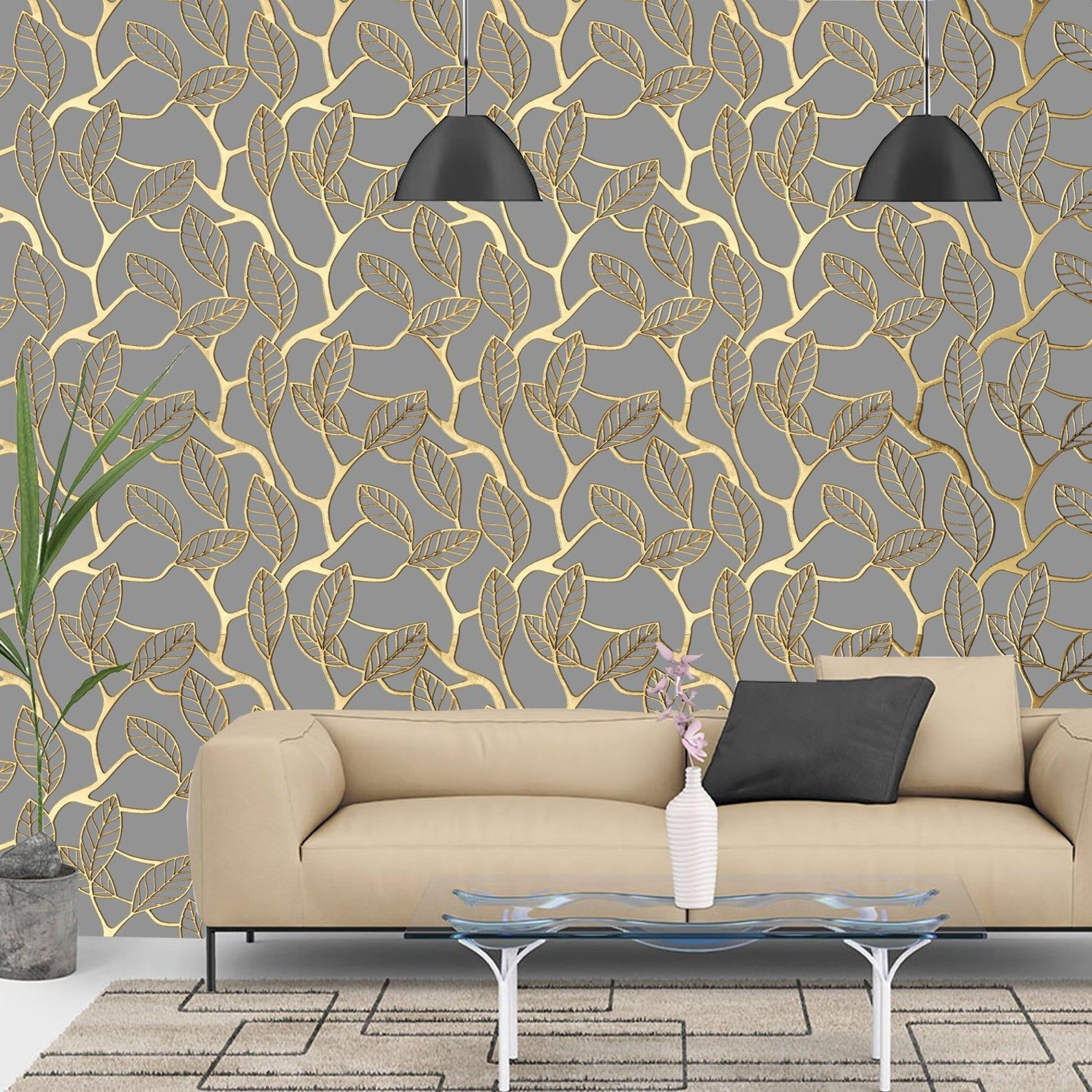 PrintMySpace Vintage Gold and Grey Lattice Wallpaper