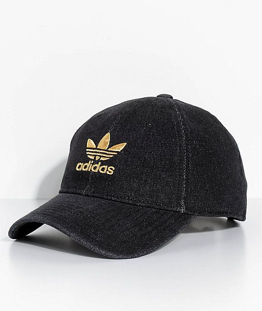 0476e49b8f079 adidas Men s Trefoil Black Denim Strapback Hat in 2019