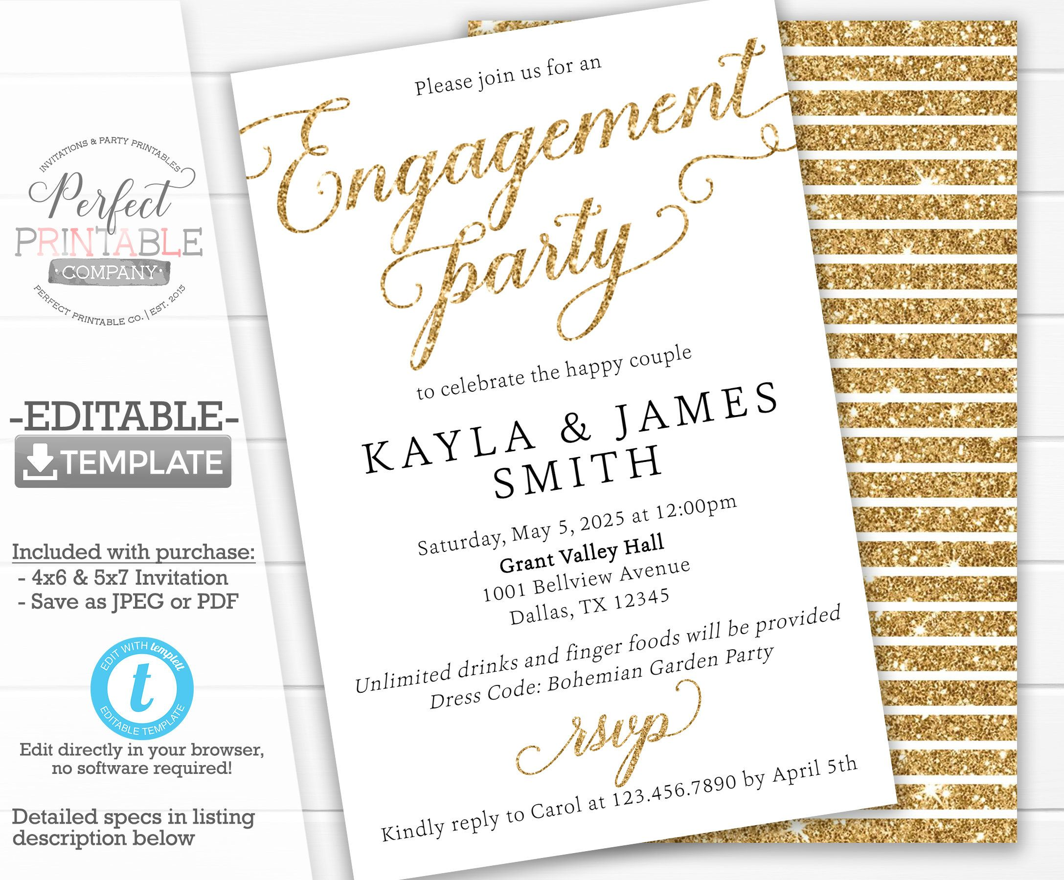 Engagement Party Invitation Engagement Party Invite Etsy Engagement Announcement Cards Engagement Party Invitations Engagement Announcement