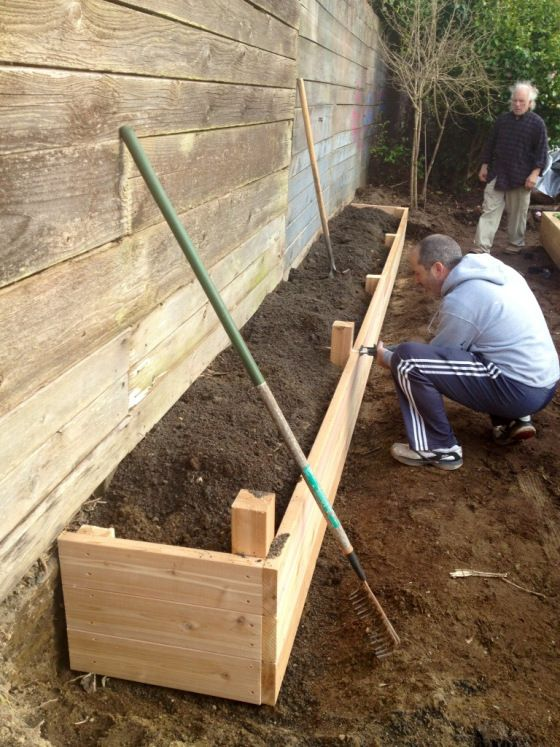 Family produce garden progress in the works is part of Garden landscaping diy - We decided to make a bed along the fence for berries, corn, more beans & tomatoes  We still need to add a trellis  My husband Rob ended up fixing part of the old fence  My mom and I were too ex…