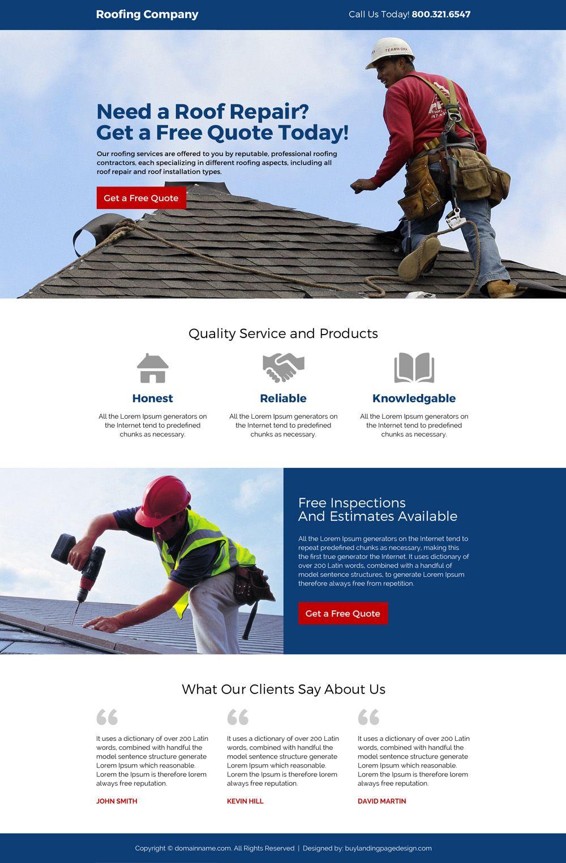 Roofing Company Free Estimates Responsive Landing Page Design Roof Roofing Restoration Roofi Landing Page Design Roofing Companies Website Design Wordpress