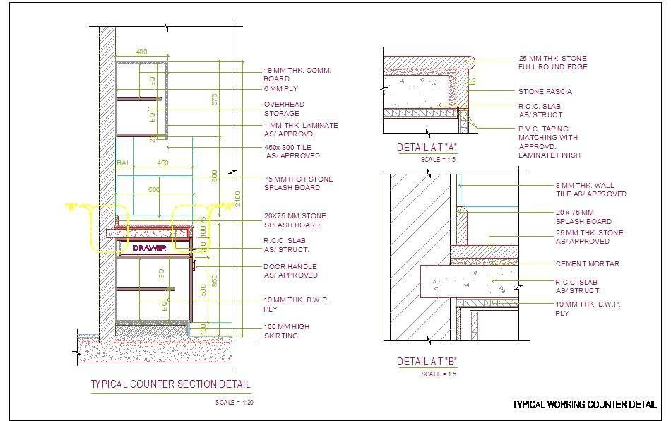Stone Counter Top Detail Stone Countertops Furniture Details Drawing Granite Kitchen Counters