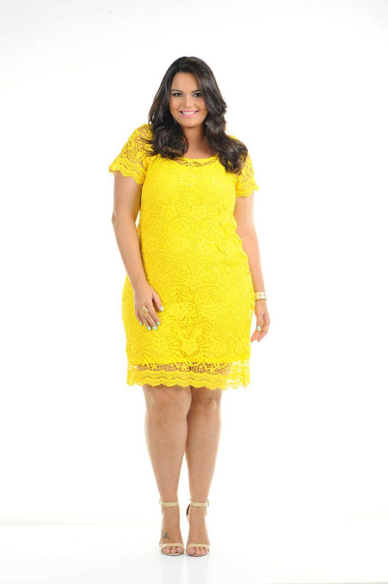 f551490ec vestido plus size amarelo ref. 116115