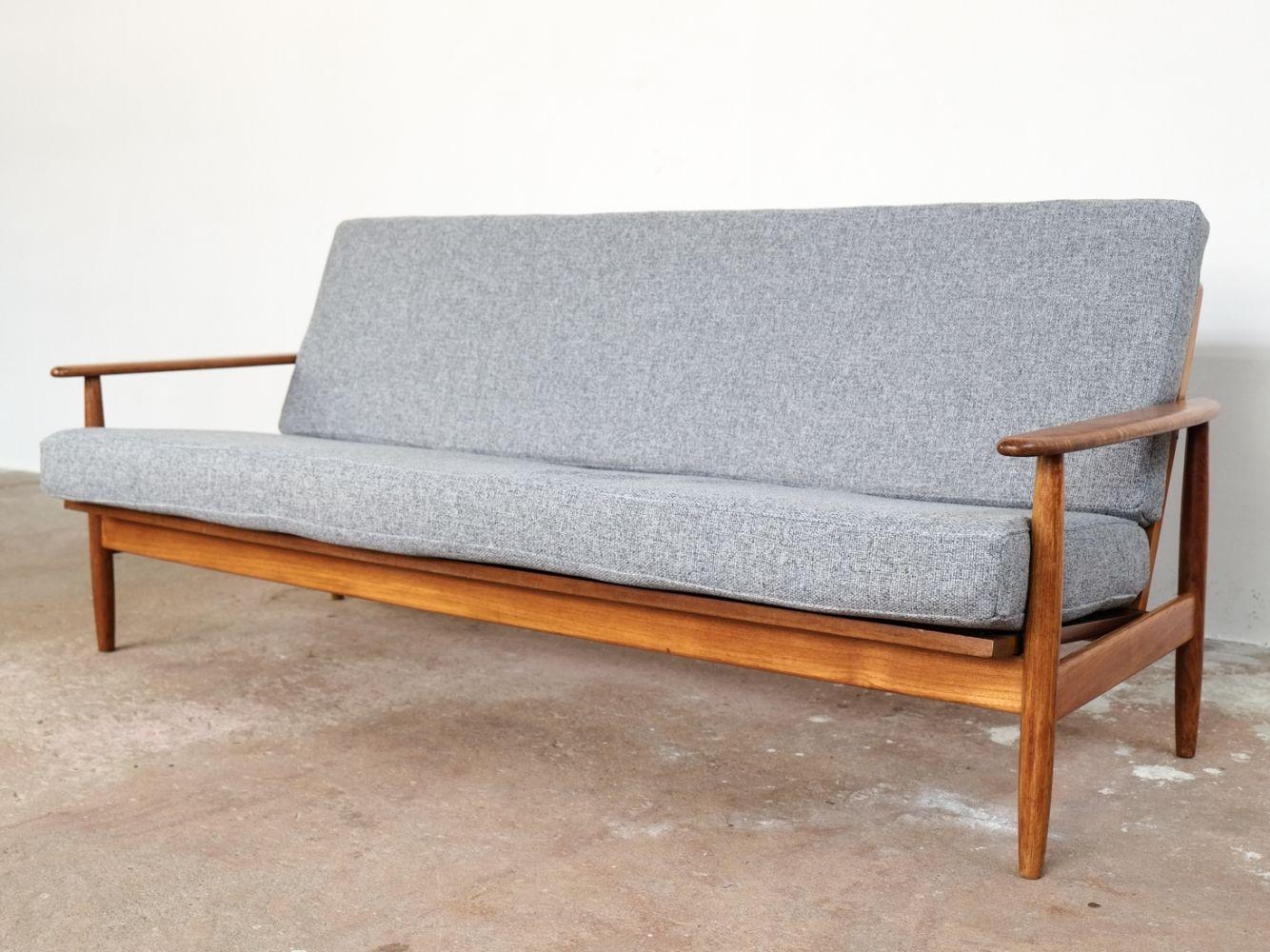 Danish Sofa In Teak With New Cushions In Fabric 1960s Danish Sofa Retro Sofa Vintage Sofa