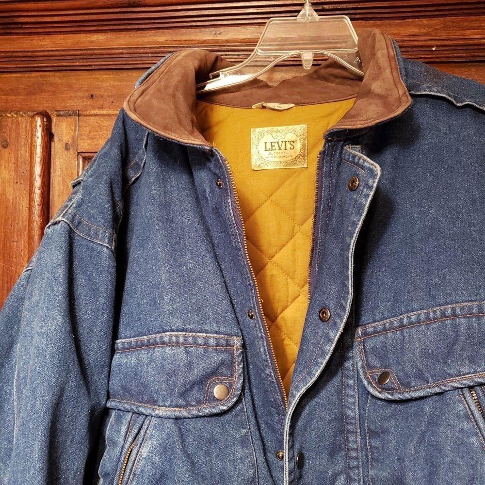 Levis Authentic Westernwear Full Zip Blue Denim Lined Trucker Jacket Leather M Levis Trucker Western Wear Leather Jacket Blue Denim [ 1000 x 1000 Pixel ]