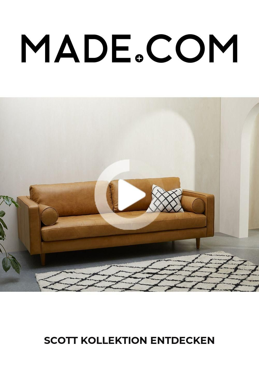 Scott 3 Sitzer Sofa Leder In Hellbraun In 2020 Elegant Sofa Retro Design Decor