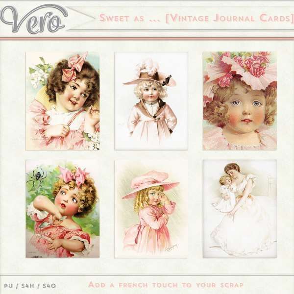 Digital Art :: Element Packs :: Sweet as ... [Vintage Journal Cards]