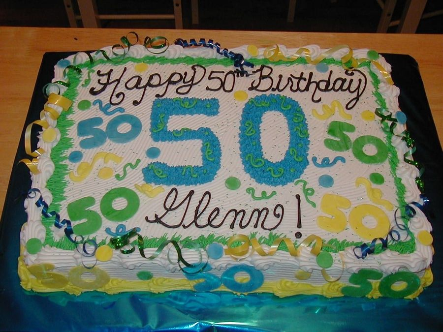 Half Sheet Fun Color 50th Birthday Cake With Fondant Accents