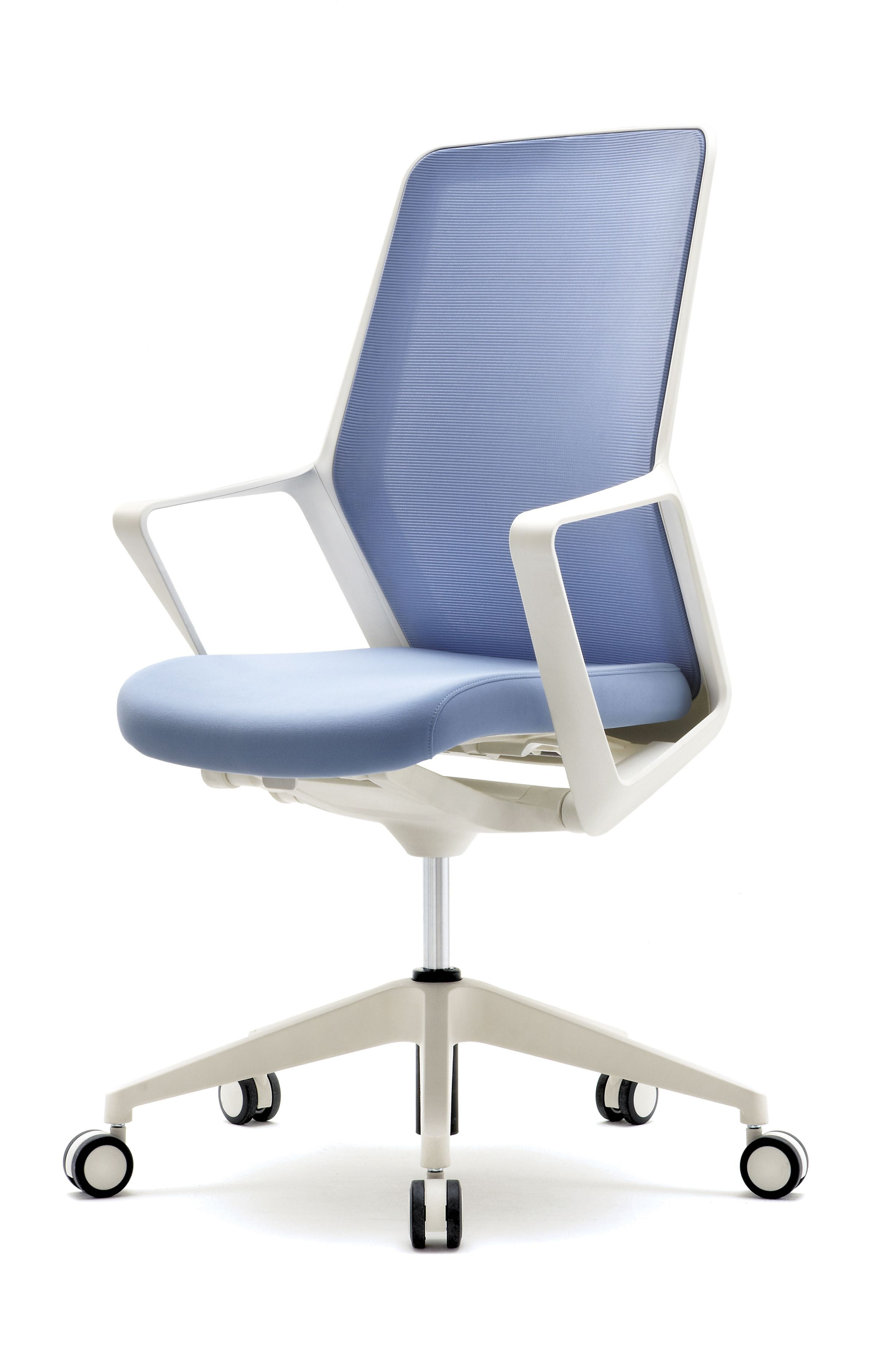 Synchronized Armchair With Work Position Lock Tilt White Plastics 3 Available Color Combinations Orange Light Blue Office Furnishing Office Chair Furniture