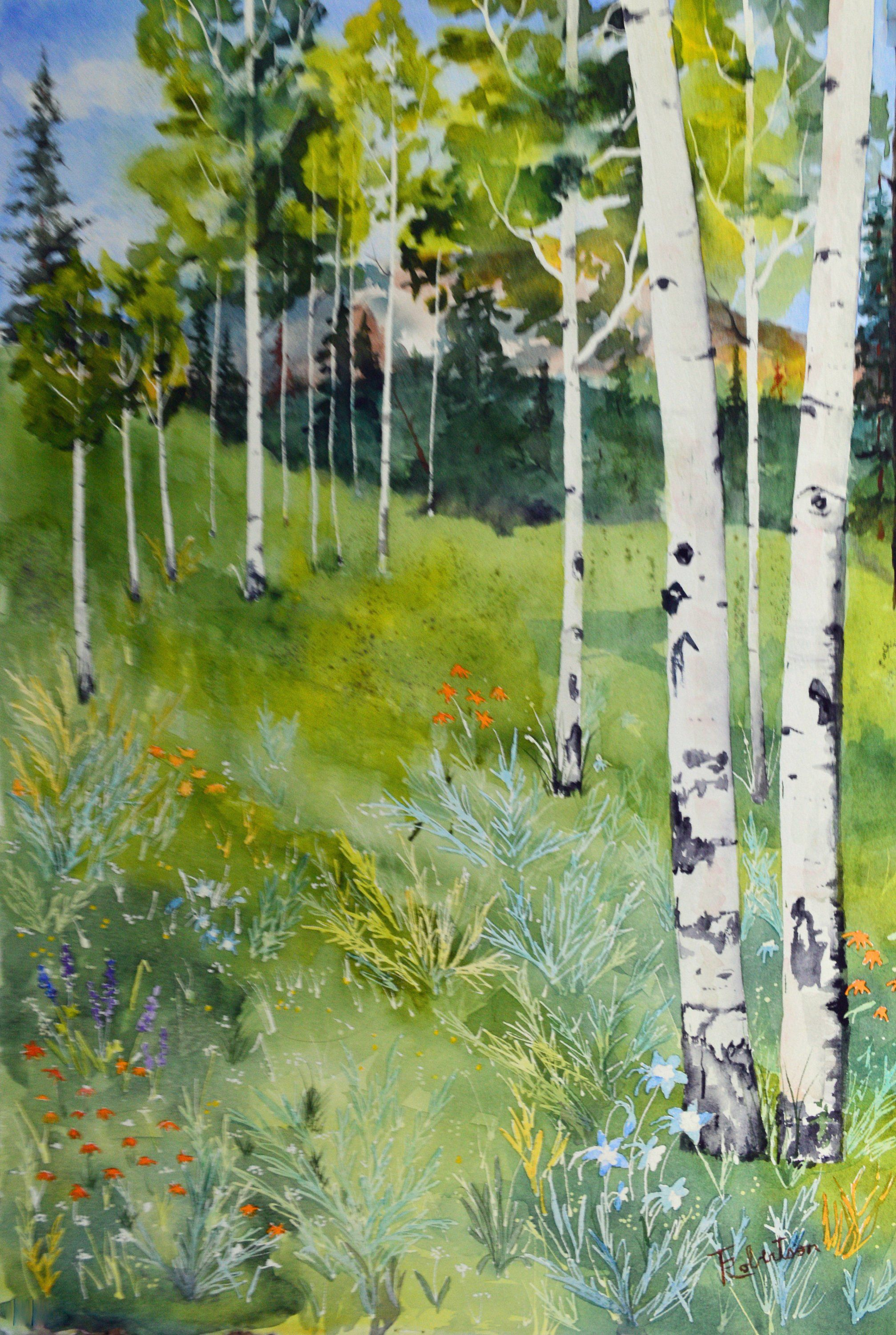 Aspen Tree Painting Original Forest Art Forest Art Aspen Trees