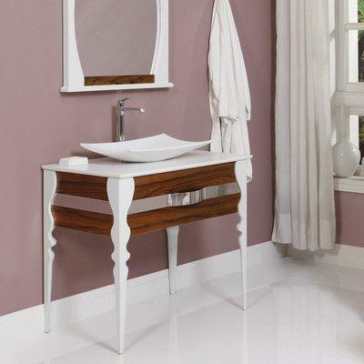 "DECOLAV Natasha 37"" Single Bathroom Vanity Set Base Finish: Black Limba / White Gloss"