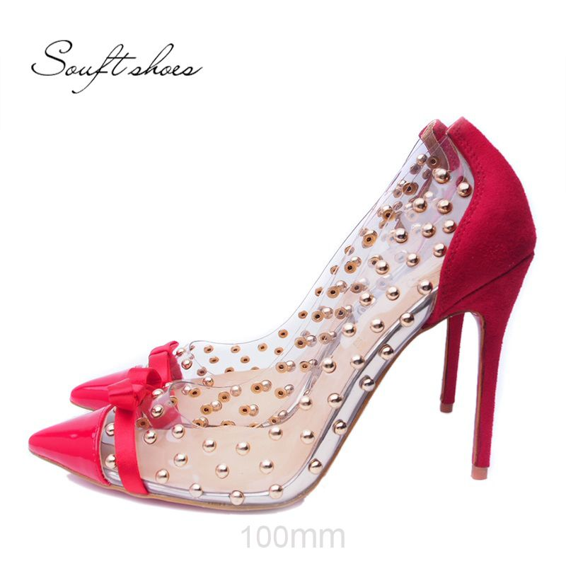 Christian Louboutin Souft shoes Red Bow Shoes With Transparent ...
